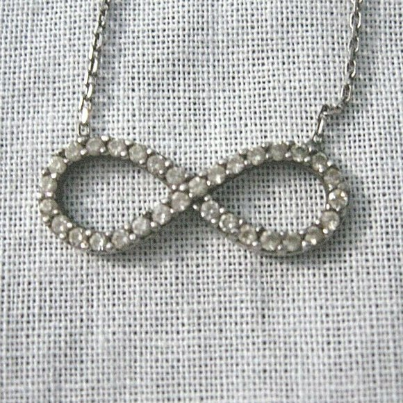 Sterling Silver Infinity CZ Necklace Delic…